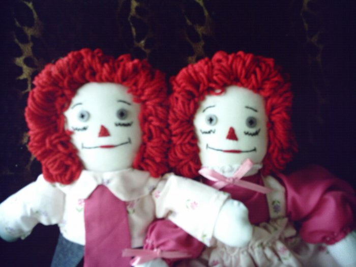 Handmade Raggedy Ann and Andy Cloth Doll Set OOAK One of a Kind Dolls