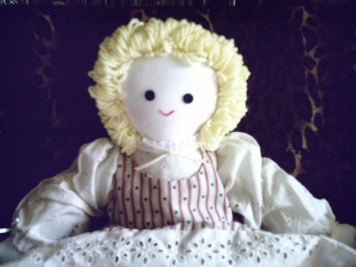 OOAK One of a Kind New Handmade Cloth Girl Doll Curly Blond Hand embroidered!
