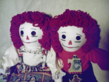 Christmas Raggedy Ann and Andy Set with Matching Quilt OOAK One of a Kind Handmade Dolls