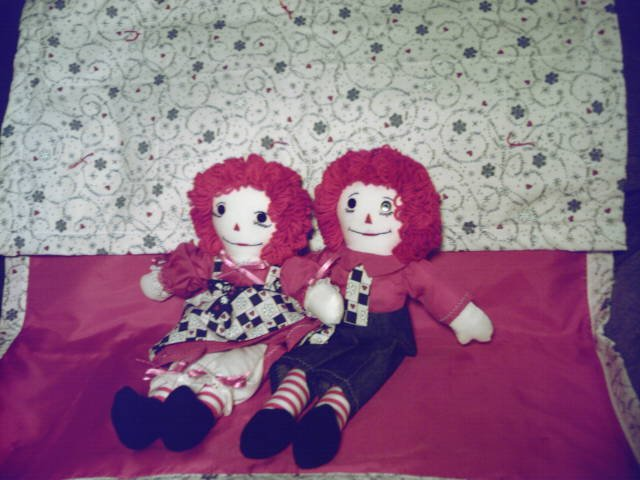 Snowflakes and Hearts Raggedy Ann and Andy Set with Matched Quilt! OOAK Handmade Dolls