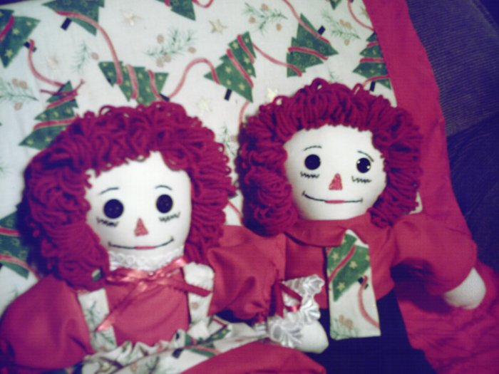 Christmas Trees One of a Kind Handmade Pair Raggedy Ann and Andy Dolls with Matching Quilt OOAK