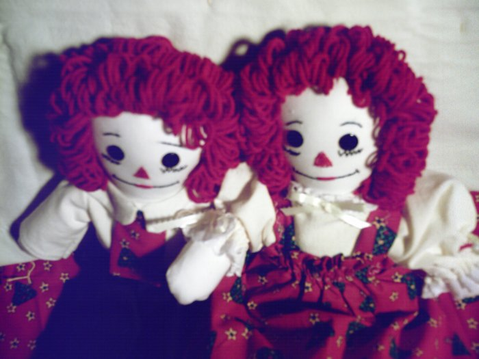 Christmas Dolls and Matching Quilt Raggedy Ann and Andy Handmade OOAK Dolls Christmas Trees!