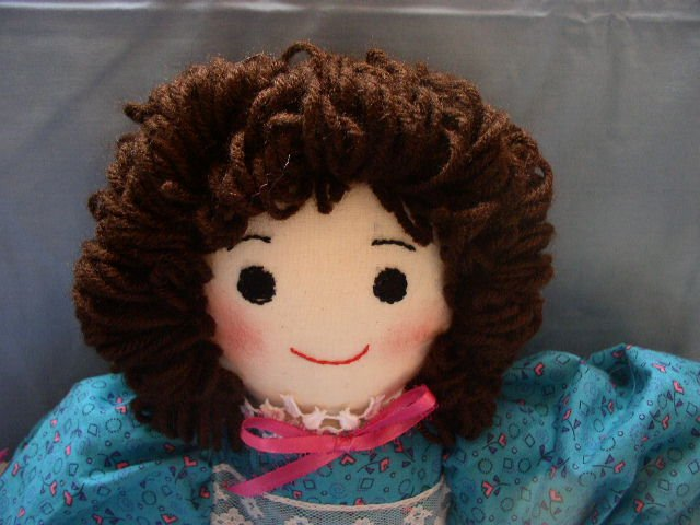 One of a Kind Cloth Girl Doll Handmade Dolls OOAK Turquoise Dress! Brunette!