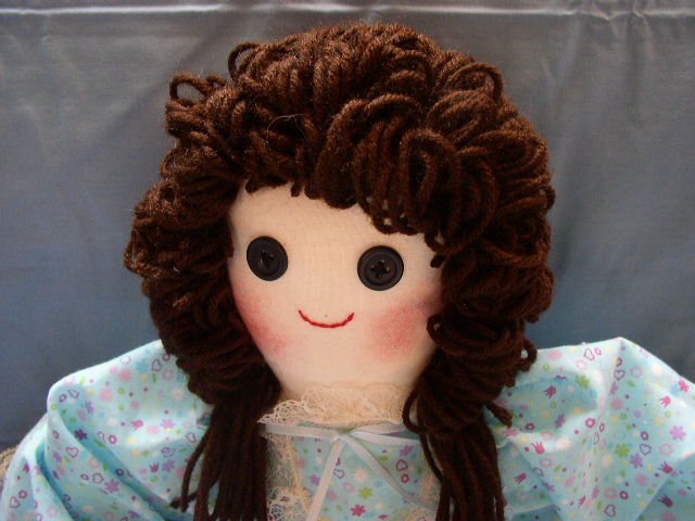 SOLD Hand made One of a Kind Cloth Girl Doll Brunette Purple Floral Handmade Dolls