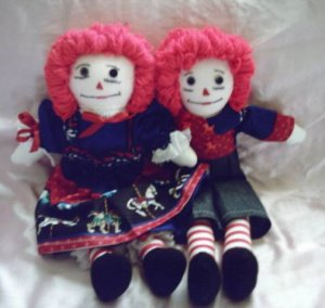 Raggedy Ann and Andy Handmade Cloth Dolls One of a Kind OOAK Carousels and Horses!