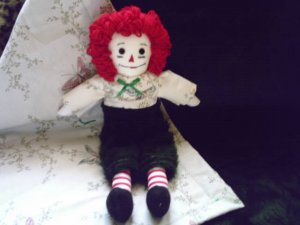 Plush Raggedy Andy Doll with Matching Plush Quilt Handmade One of a Kind Cloth Dolls OOAK
