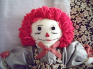 Handmade Raggedy Ann Doll with Matched Quilt Lavender One of a Kind OOAK Cloth Dolls