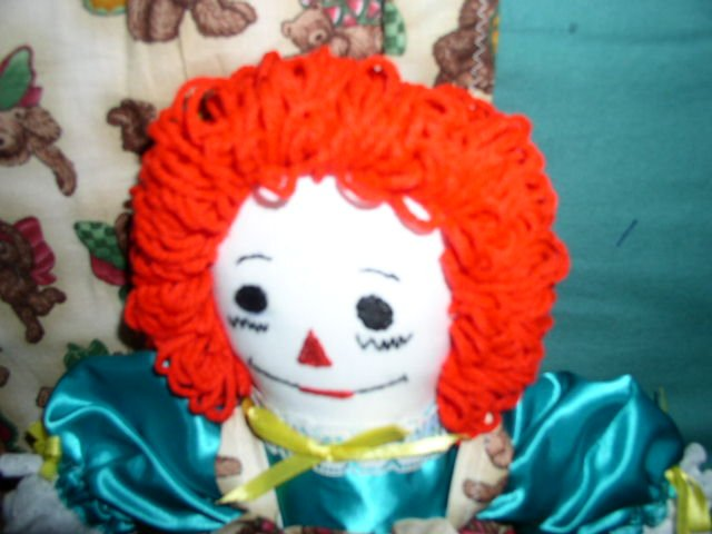 Teddy Bear Fairy Raggedy Ann Doll and Matched Quilt Fairies Hand made One of a Kind