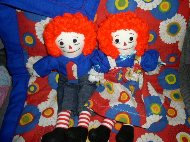Handmade One of a Kind Raggedy Ann and Andy Dolls plus Matched Quilt Primary Colors! OOAK