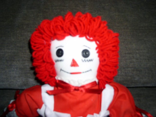 SOLD Red White Handmade Raggedy Ann Doll One of a Kind OOAK Handcrafted Dolls