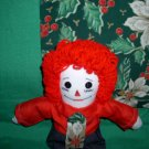 Christmas Raggedy Andy and Matched Holly Quilt OOAK One of a Kind Handmade Dolls
