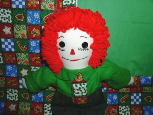 Christmas Raggedy Andy Doll and Matching Quilt Handmade One of a Kind OOAK