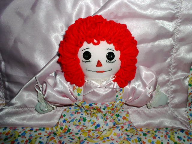 Handmade Raggedy Ann with Matching Pink Satin Quilt One of a Kind OOAK Handcrafted Dolls