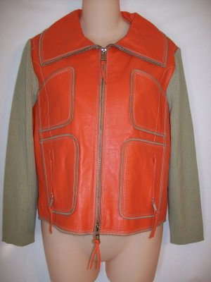 Orange Leather Khaki Ribbed Vintage Look Fly Collar Funnel Neck Sweater Jacket by One Girl Who L