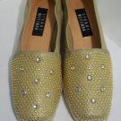 Stuart Weitzman Gold Leather Rhinestone Studded Braided Wedge Flat Loafer Shoes 7 1/2 N