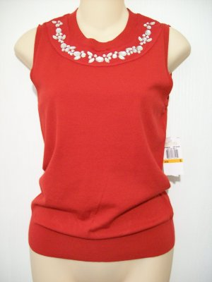 Michael Kors Red Blaze Clear Rhinestoned Jeweled Front Sweater Vest Small New