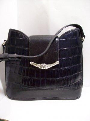 Brighton Moc Croc Dark Navy Flap Bucket Purse Bag Handbag adj Strap Silver Tone
