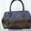 Leather Woven Weave Design Dk Brown Chocolate Mahogany Docotor Satchel Bag Purse by Nine West