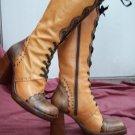 Italian Handmade Camel Tan Leather Oxford Square Box Toe Wing Tip Chunky Heel Tie Zip Knee Boots 7