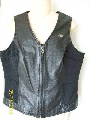 Harley Davidson HD Black Ribbed Spandex & Leather Fitted Zip Up Net Lined Vest Ladies Women L
