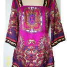 Satin Polyester Square Neck Tie Back Multi Color Paisley Kimono Blouse Top Ashley Judd M
