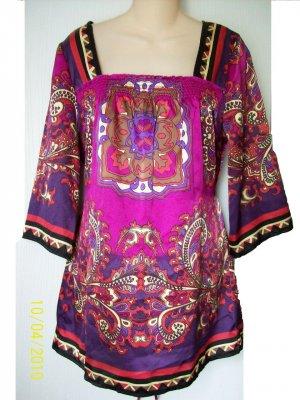 Satin Polyester Square Neck Tie Back Multi Color Paisley Kimono Blouse Top Ashley Judd M