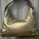 Michael Kors Gold Leather Brookville Shoulder Bag Purse