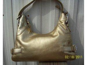Michael Kors Gold Leather Brookville Shoulder Bag Purse