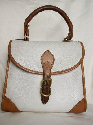 Dooney & Bourke Vintage Kelly Bag Purse Satchel White All Weather Leather Tan Trim