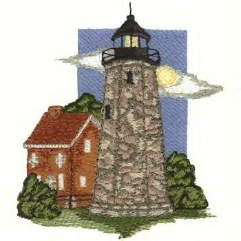 Great Lakes Lighthouse #5 Machine Embroidered On White Hand Towel