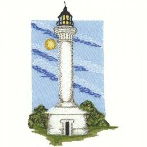 Pacific Coast Lighhouse #3 Machine Embroidered On White Hand Towel