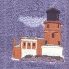 Split Rock Lighhouse Machine Embroiderd On White Hand Towel