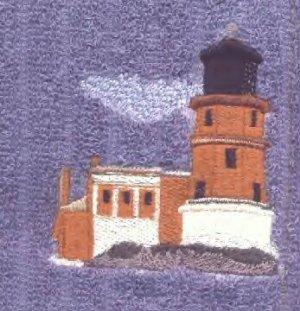 Split Rock Lighhouse Machine Embroiderd On White Hand Towel