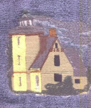Bete Grise Lighthouse Machine Embroidered On White Hand Towel