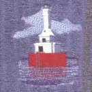 Keweenaw Waterway Lighthouse Machine Embroidered On White Hand Towel