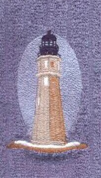 Old Buffalo Lighhouse Machine Embroidered On White Hand Towel