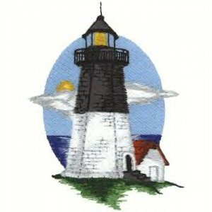 Cape Cod Lighthouse #4 Machine Embroidered On White Hand Towel