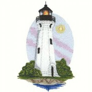 Great Lakes Lighthouse #1 Machine Embroidered On White Hand Towel