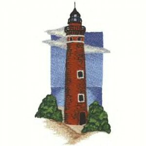 Great Lakes Lighthouse #4 Machine Embroidered On White Hand Towel