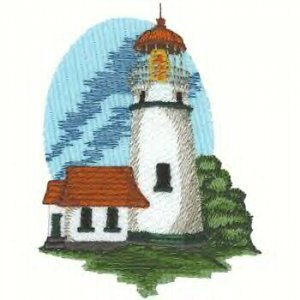 Pacific Lighthouse #2 Machine Embroidered On White Hand Towel