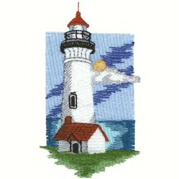 Pacific Lighthouse #1 Machine Embroidered On White Hand Towel