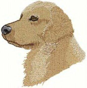 Golden Retreiver Dog Head Machine Embroidered On Hand Towel