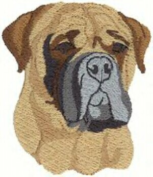 Bullmastiff Dog Head Machine Embroidered On Hand Towel