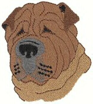 Shar Pei Head Machine Embroidered On Hand Towel