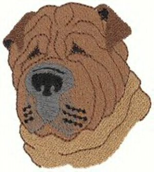 Shar Pei Head Machine Embroidered On Hand Towel