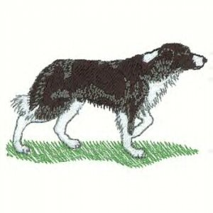 Border Collie Machine Embroidered On Hand Towel