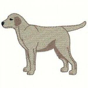 Yellow Labrador Machine Embroidered on Hand Towel