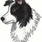 Border Collie Head Machine Embroidered on Hand Towel