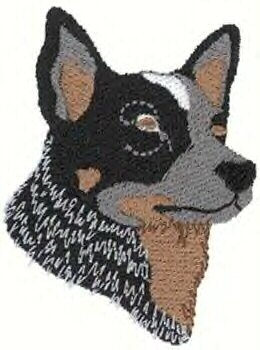 Australian Cattle Dog Head Machine Embroidered on Hand Towel
