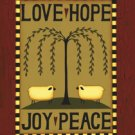 Primitive Sheep Willow Love Hope Peace Large Flag